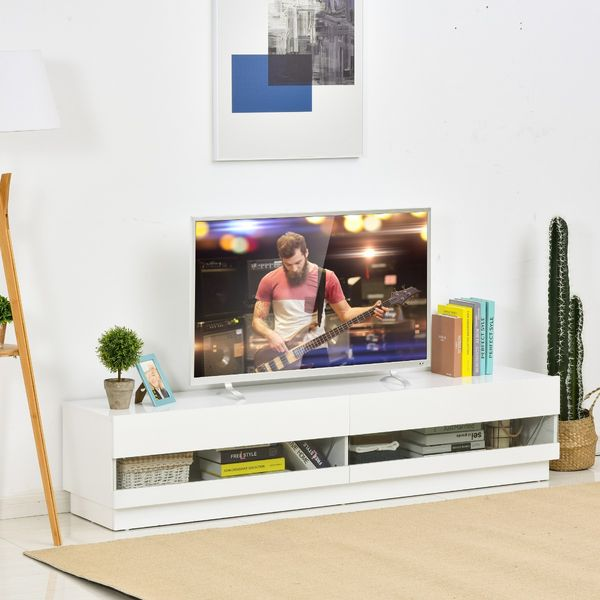 """HOMCOM TV Stand with Drawers 71"""" High Gloss LED TV Cabinet Stand Entertainment Center Storage Unit, White 