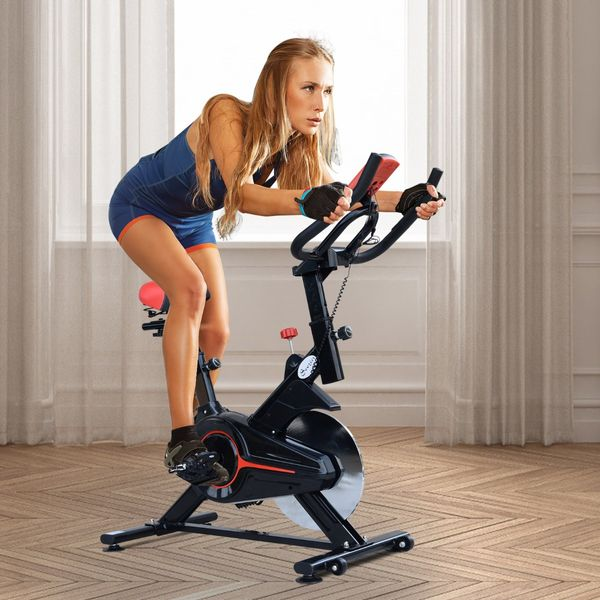 Soozier Indoor Cycling Bike Trainer Cardio Workout Fitness Equipment Stationary Spinning Upright Home Gym Exercise Bicycle   Aosom Canada