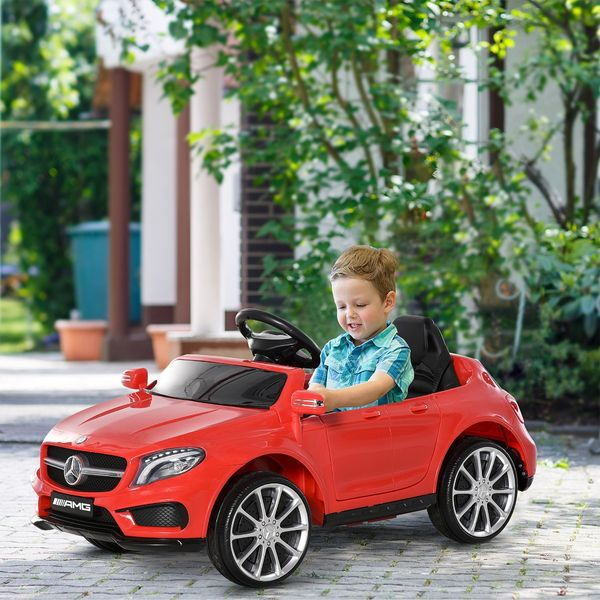 Qaba 6V Mercedes Kids Car Licensed Benz Ride On Car For 3 Years Old Kids With High/Low Speed Headlight Music Red | Aosom Canada