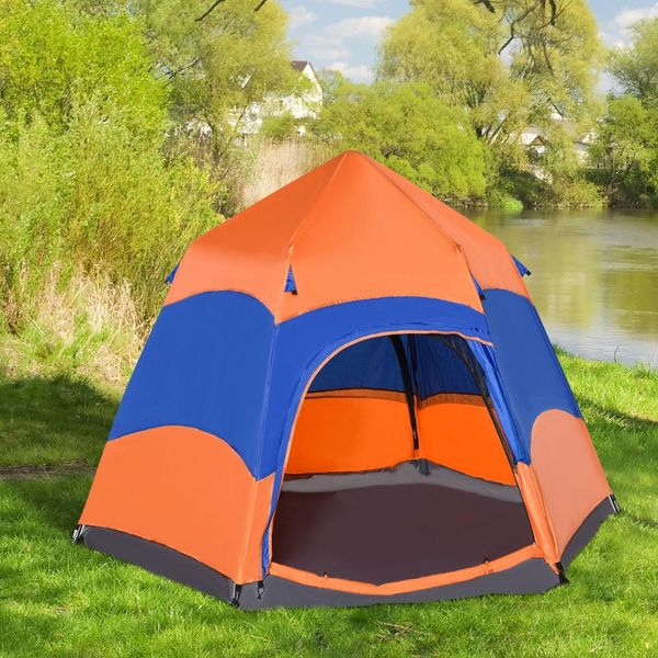 Outsunny 5-6 people Hexagon Double Layer Camping Tent Portable Easy Pop Up