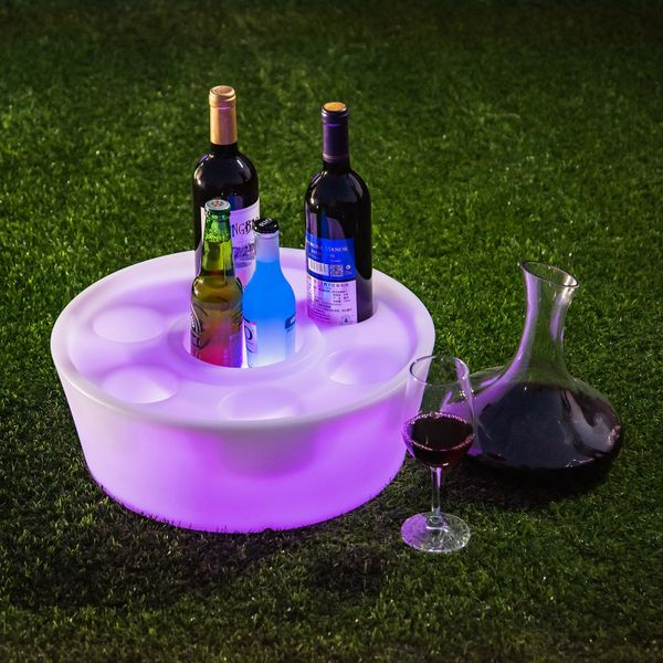 Outsunny Bar KTV Atmosphere Wineholder Colorful Flashing LED Light Button Holders for Drinks Perfect for Party luminous Cup Pad Mat Holder | Aosom Canada