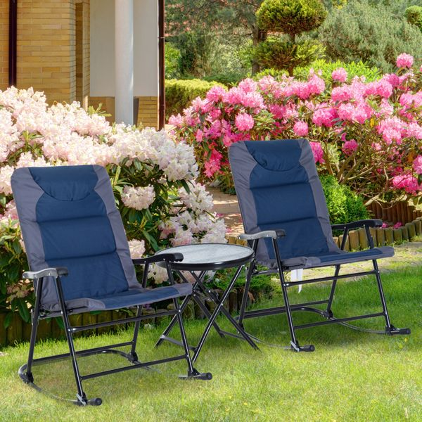 Outsunny 3pc Folding Outdoor Rocking Chair and Table Set Yard|AOSOM.CA