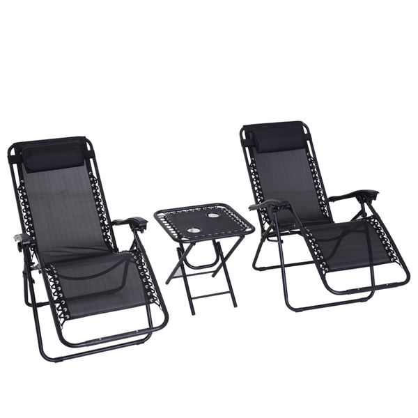 Outsunny 3pcs Zero Gravity Chair Set Side Table w/ Cup Holder Black|AOSOM.CA