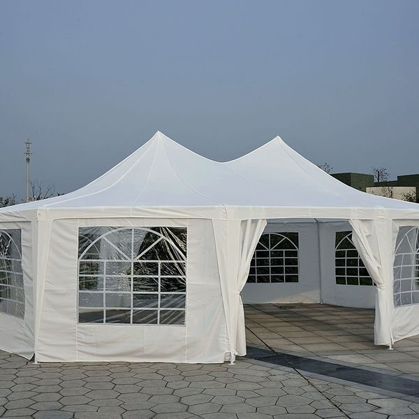 Outsunny 29x21ft High Peak Decagonal Wedding Event Party Tent Gazebo Canopy w/ 10 Removable Walls White | Aosom Canada