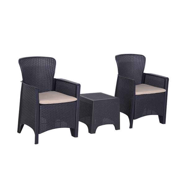Outsunny 3pc Wicker Style Sofa Set All Weather Outdoor Furniture | Aosom Canada