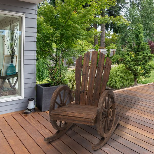 Outsunny Rustic Outdoor Patio Adirondack Rocking Chair