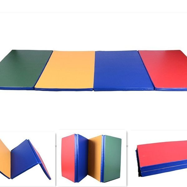 Soozier Gym Exercise Mat Folding Panel Aerobics 10'×4'×2' Yoga Sport PU Leather Gymnastics Tumbling Arts Pad Portable Stretching Mat Multi-Color | Aosom Canada