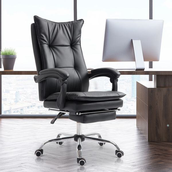 Vinsetto Ergonomic Executive Gaming Chair Height Adjustable Reclining Napping Seat with Retractable Footrest 360° Swivel Black | Aosom Canada