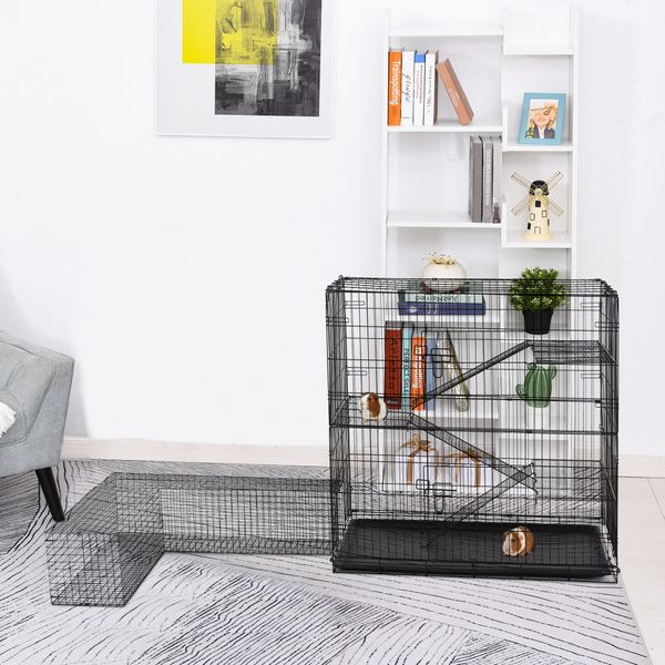 Pawhut Small Animal Cage Hutch Pet Play House with Platform Ramp Removable Tray Wire Runway for Rabbits Guinea Pigs Pet Mink Chinchillas w/ Enclosure | Aosom Canada