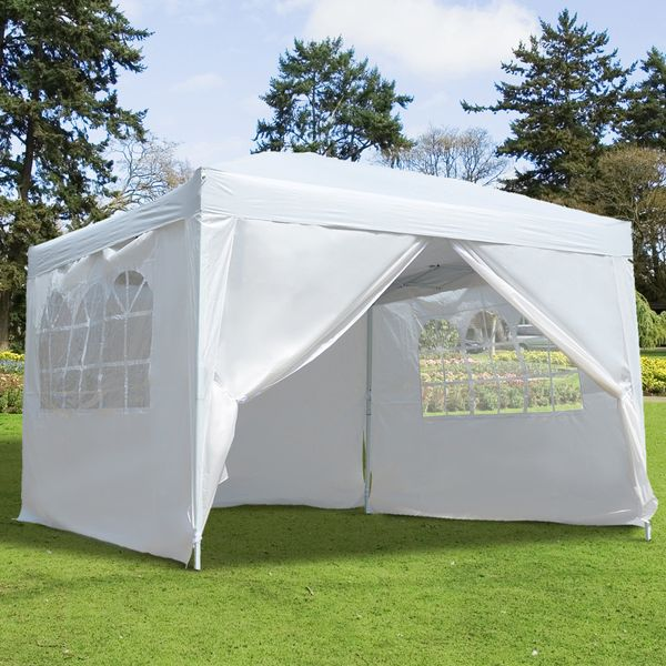 Outsunny10x10FT Folding Party Wedding Canopy Gazebo Pop Up Tent Easy Marquee w/ 4 Removable Sidewalls White   Aosom Canada