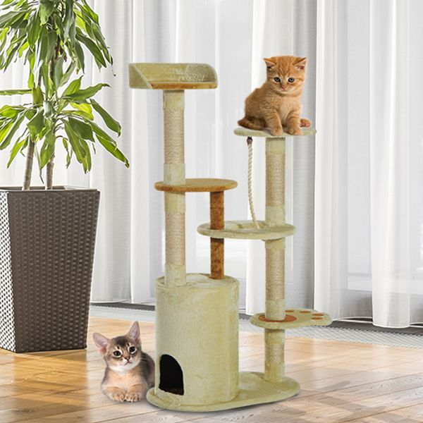"Pawhut 55"" Cat Tree Condo Scratching Post Furniture Scratcher House