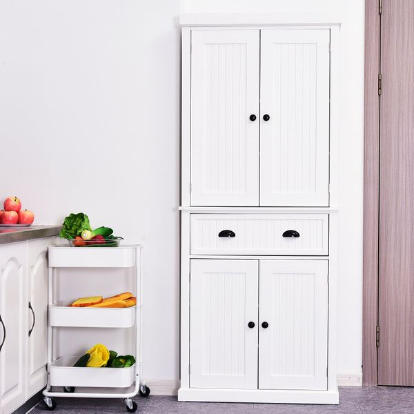 HOMCOM Tall Colonial Style Free Standing Kitchen Pantry Storage Cabinet