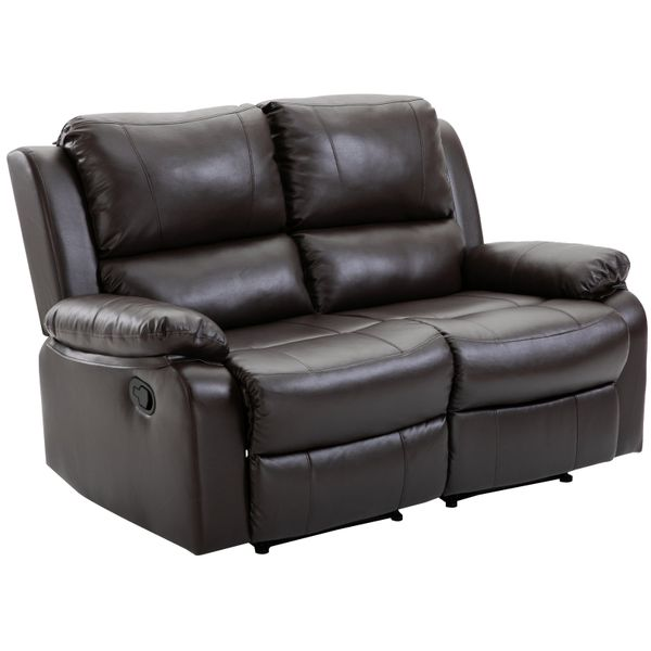 HOMCOM Double Seat Reclining Loveseat Recliner PU Faux Leather Pullback Control with Footrest|AOSOM.CA