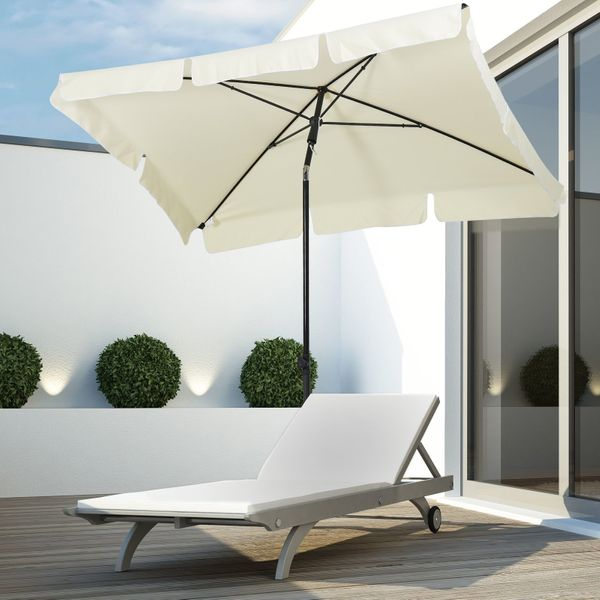 Outsunny 7x4ft Rectangular Aluminum Tilt Patio Umbrella Garden Parasol UV Protection Waterproof Canopy Beige|Aosom.ca