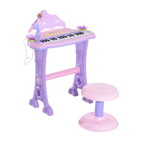 Qaba Kids Piano Electronic Keyboard Instrument with Microphone and Stool 32 Keys Musical Toy Organ Educational Gift for Children Pink|Aosom Canada
