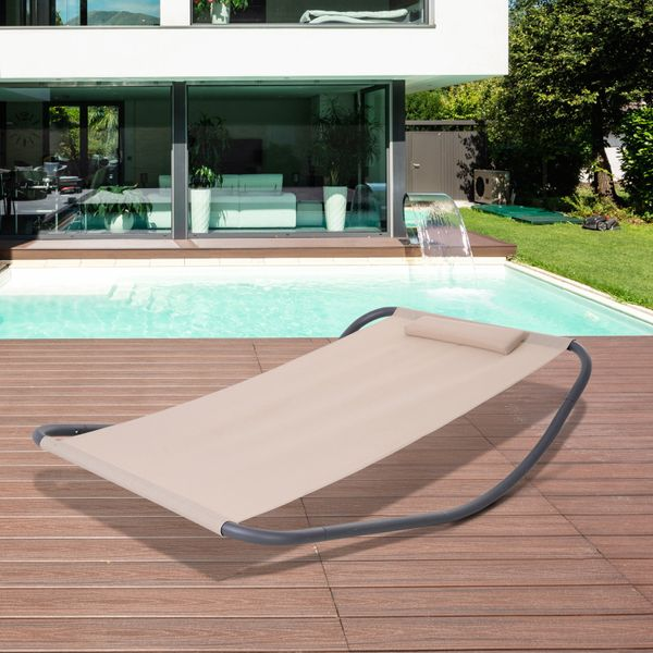 Outsunny Textilene Swing Bed Rocking Swing Day Bed Garden Outdoor Sun Lounger w/ Pillow Stand Beige Mesh Sling   Aosom Canada
