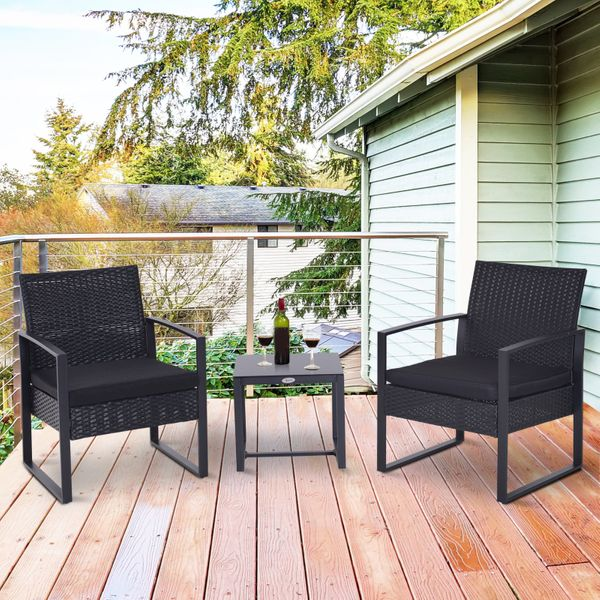 Outsunny 3PCS Patio Rattan Wicker Chair Table Set Cushioned Outdoor Garden  Coffee Furniture Black | Aosom Canada