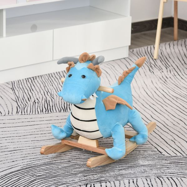 Qaba Kids Plush Ride-On Rocking Horse Toy Dinosaur Ride on Rocker with Realistic Sounds for Child 18-36 Months Blue Grip | Aosom Canada