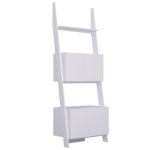 """HOMCOM 76.75"""" 3 Tier Bookcase Ladder with 2-Storage Drawers, Enough Storage Rack Shelf Wall Display Rack with Two CabinetsWhite