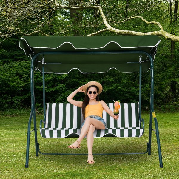 Outsunny Outdoor 3-person Metal Porch Swing Chair Patio Garden Poolside Bench with Canopy Top 3- seat   Aosom Canada