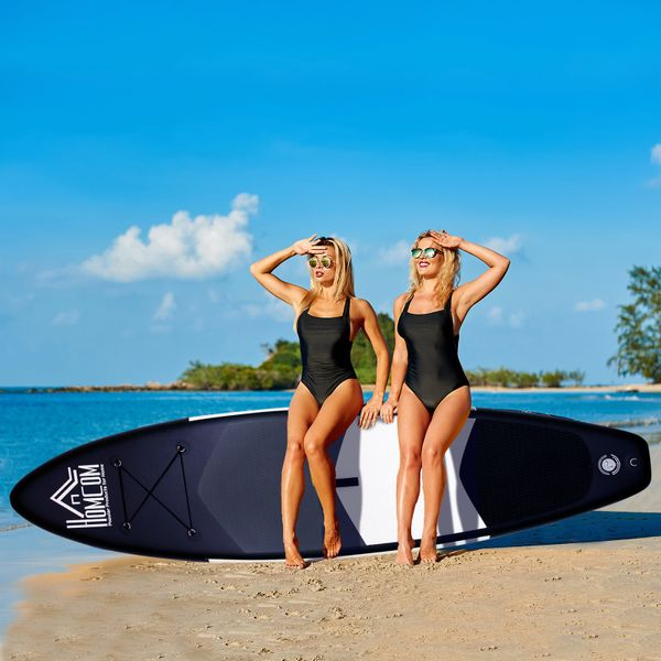 HOMCOM Inflatable Stand Up Paddle Boards W/ Adjustable Paddle Fix Bag Air Pump Fin Backpack Beach Surf -Grey White Surfing For 155-195cm/5.1-6.4ft - Grey   Aosom Canada