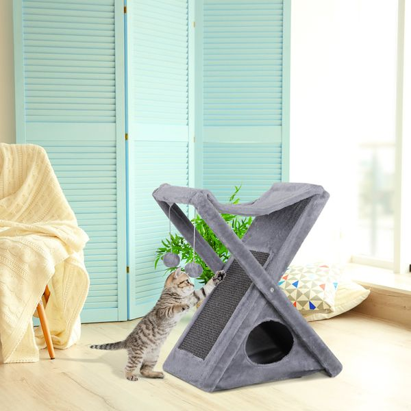 PawHut Fold-and-Store Cat Tower Kitty Activity Tree Center Scratcher Cave Hammock w/Hanging Balls Grey|Aosom Canada