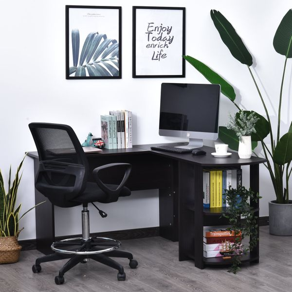 HOMCOM L-Shaped Corner Computer Desk Wood PC Workstation Laptop Table with 2 Storage Shelves Space Saving Home Office Black | Aosom Canada