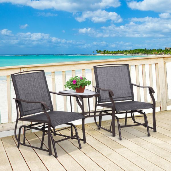 Outsunny Durable Double Glider Chair w/ Center Table Outdoor Comfortable High Back Armchair Set Sling Fabric Garden Bench w/ Glass Top Table Grey