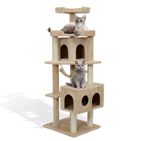 Pawhut Cat Tree Scratching Post 65.2 Inch Pet Furniture with Tower Furniture Condo, Hammock, Toy Beige|Aosom Canada