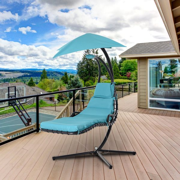 Outsunny Curved Floating Chaise Lounge Porch Swing Hammock Hanging Chair Blue | Aosom Canada