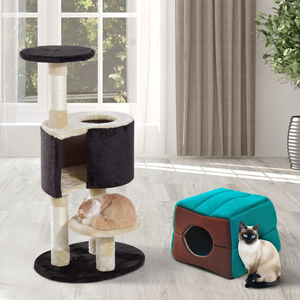 """PawHut 39""""H Cat Tree Scratching Post Condo Activity Center Kitten Climb Bed Tower House Furniture