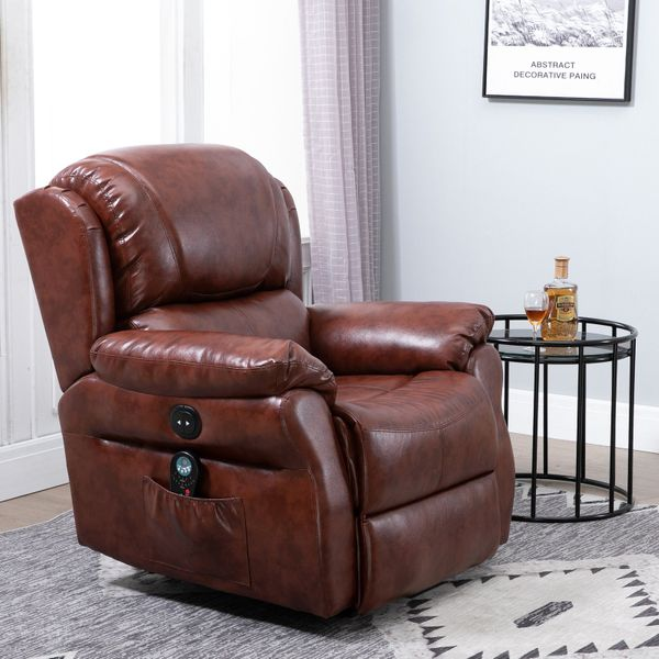 HOMCOM 8- Point Massage Sofa Electric Power Recliner Over Padded PU Leather|AOSOM.CA