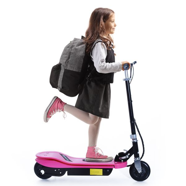 Qaba Electric Scooter Folding High Performance for Teens Adjustable E-Scooter with LED Light Battery Powered Motorized Bike 24V 4.5AH Pro Pink | Aosom Canada