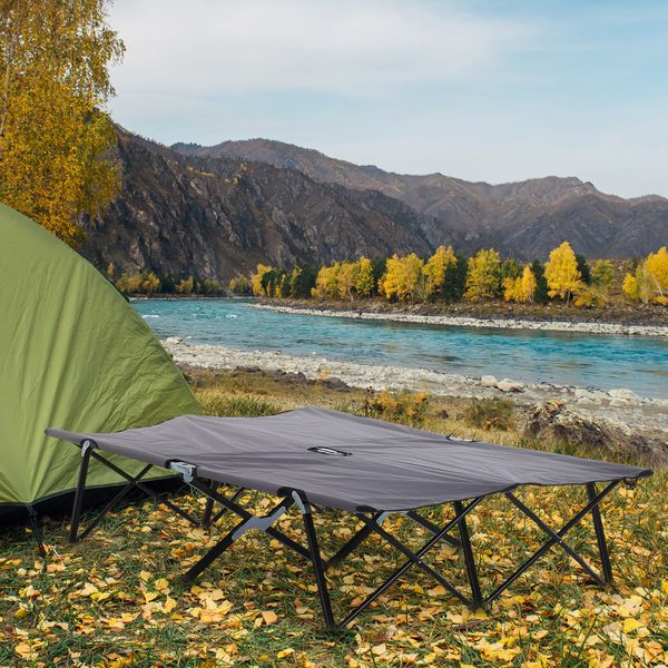 Outsunny 2 Person Folding Camping Cot Portable Outdoor Military and Hiking Bed Double Wide Folding Grey | Aosom Canada