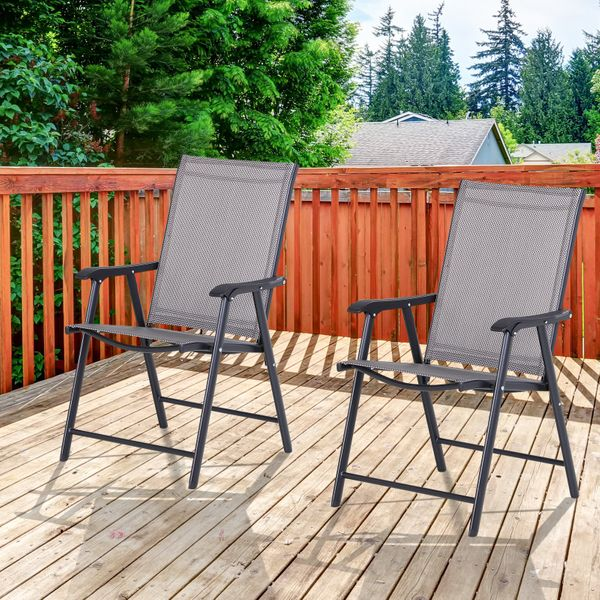 Outsunny 2-PCS Foldable Steel Garden Chairs Outdoor Patio Park Seat Yard Furniture Grey Sling | Aosom Canada