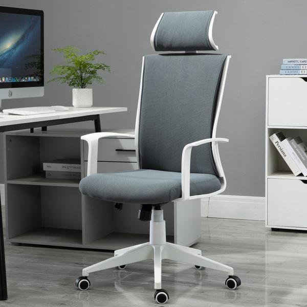 Vinsetto High Back Mesh Office Chair 360° Swivel Rocking Height Adjustable with Headrest Grey and White Computer Wheels | Aosom Canada