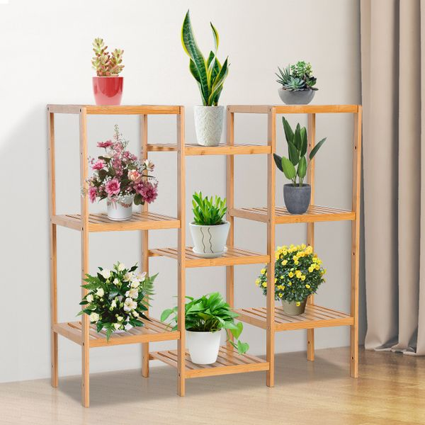 Homcom 9 Tier Bamboo Storage Rack DIY Bamboo Utility Shelf Bathroom Rack Display Stand Organizer Customize Plant Stand Flower Pots Holder|Aosom Canada