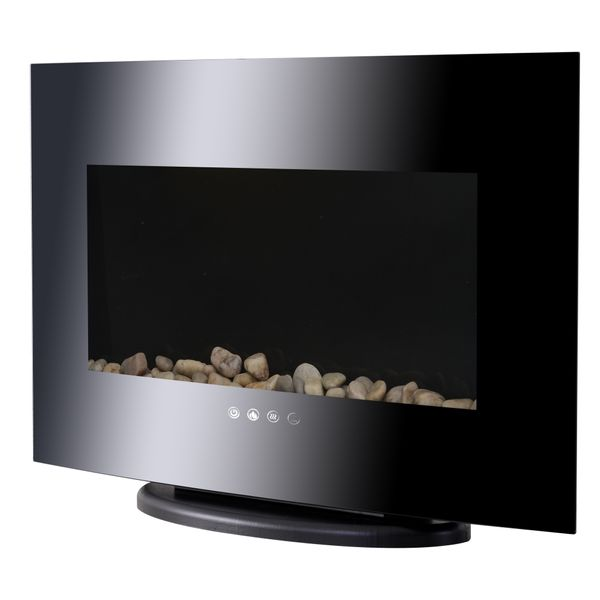 HOMCOM Wall Mounted / Free Standing Electric Fireplace 750W/1500W Black|AOSOM.CA