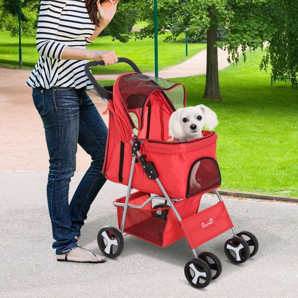 PawHut Pet Stroller Cup Holder with Storage Red|Aosom Canada