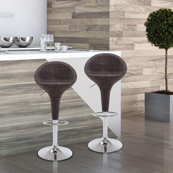 HOMCOM Adjustable Set of 2 Chrome Finish Swivel Seat Pub Bar Stools Rattan Wicker Chair Deep Brown (Model 2) | Aosom Canada