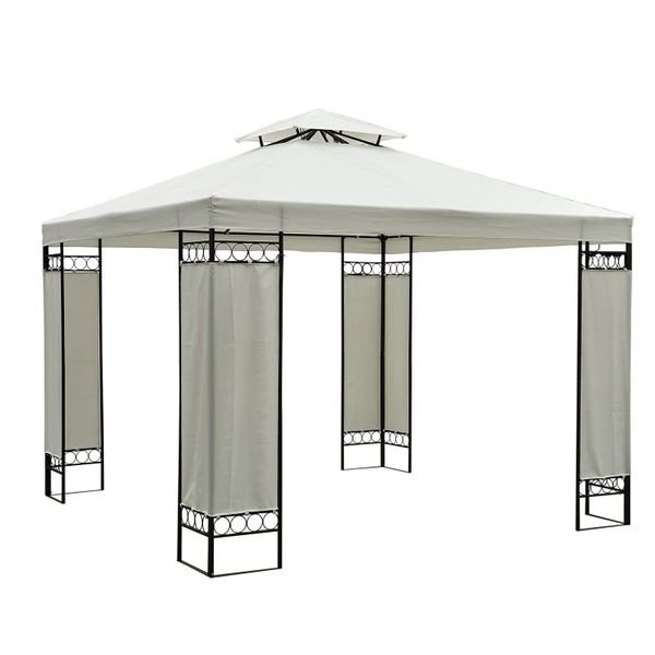 Outsunny 10'x10' Square 2-Tier Gazebo Canopy Replacement Water-resistant UV Protected Top Cover Garden Sun Shade Waterproof Cream White|Aosom Canada