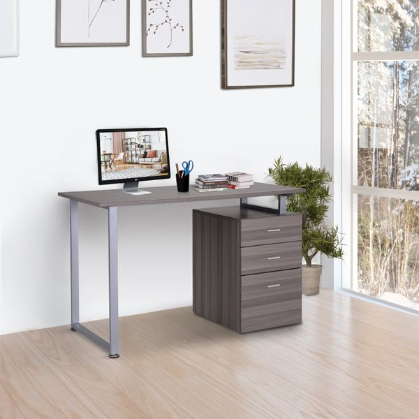 HOMCOM Industrial Style Office Desk Computer Desk with Multi-Use Removable File Drawers Dark Wood Grain Color