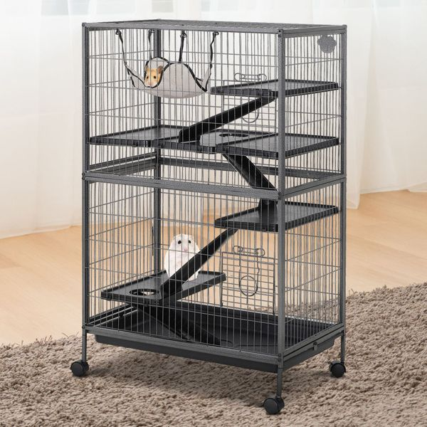 PawHut Rolling Small Animal Cage with Platform Ramps Hammock 4-Tier with Hammock and Ramps | Aosom Canada