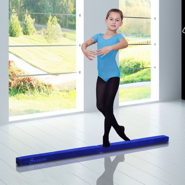 Soozier 8FT Folding Floor Balance Beam Wood Core Gymnastic Training Low Height for Kids Home Gym with Suede Surface Blue | Aosom Canada