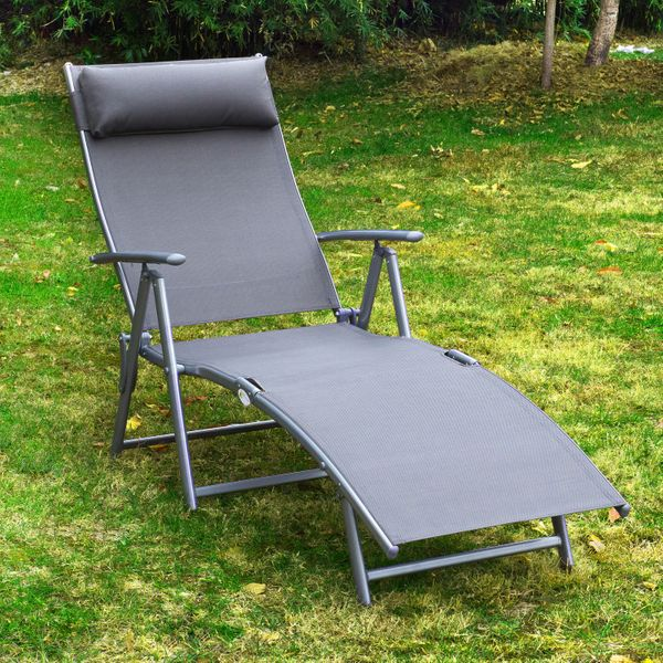 Outsunny Heavy-duty Adjustable Folding Reclining Chair Outdoor Sun Lounger Patio Tri-Fold Chaise Lounge Garden Beach Gravity with Pillow Grey |Aosom Canada