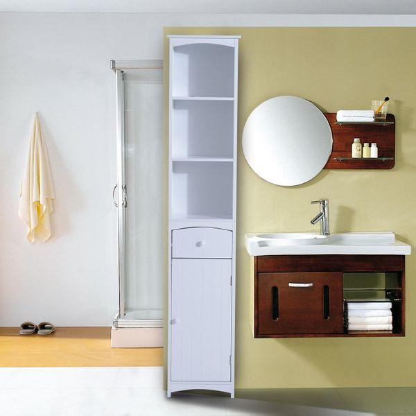 HOMCOM Tall Wooden Bathroom Cabinet Linen Tower Bath Storage Unit Space Saver Bathroom Furniture  White|Aosom Canada