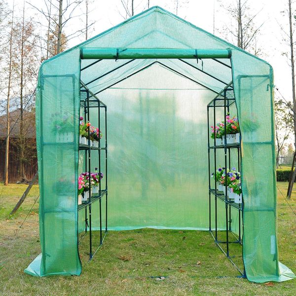 Outsunny Pop Up Greenhouse 8x6x7ft Plastic Walk-in Large Garden Portable Flower Plant Greenhouse with Shelves|Aosom Canada