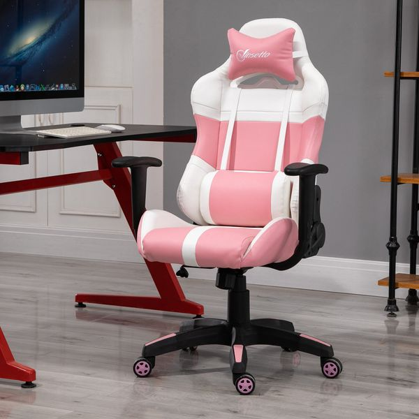 Vinsetto Office Chair with Wheels Removable Pillow Gaming Chair Pink and White