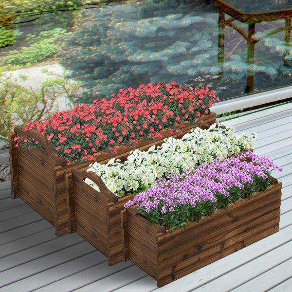 Outsunny 3 Pieces Wooden Rectangular Garden Flower Bed Planter Box W/ Handle PCS Herb Vegetable | Aosom Canada