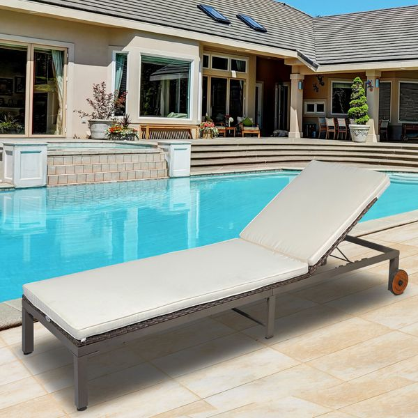 Outsunny Patio Rattan Sun Lounger with 4-Level Adjustable Backrest Wicker Chaise Lounge Relaxer Patio, Deck, Poolside Cream White Outdoor Outdoor | Aosom Canada